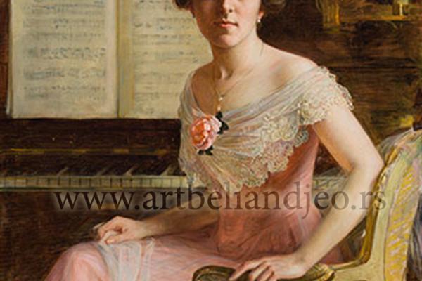 Portret mlade žene pored klavira, Godina: 1916.