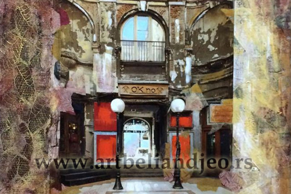Millenium Beograd - akrilik na platnu, kombinovana