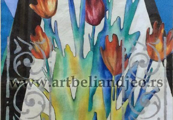 Tulip Shadows - akrilik na pirinčanom papiru