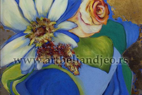 Blue Bouquet - ulje na platnu, kombinovana