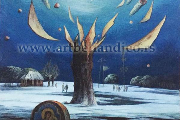 Jajčana tempera na kartonu ,,Snežna dolina''