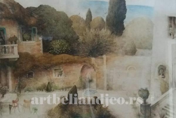 Safet Zec, Tehnika: akvarel suha igla i olovka u boji, bakropis, Naziv slike: Dvorište, Format: 63x47.5cm