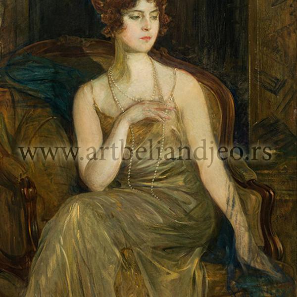 Portret Muni u zlatnožutoj haljini, Godina: oko 1930